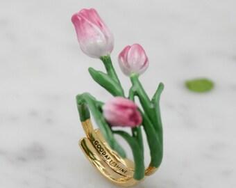Tulip Ring , Flower Ring , Handpainted GOODAFTERNINE
