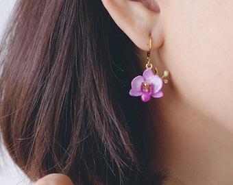 Phalaen Purple Earrings , Flower Earrings , Handpainted GOODAFTERNINE , Phalaenopsis , Orchid , Drop Earrings