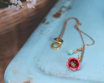 Poppy Short Necklace , Flower Rose Necklace , Flower Necklace - High quality enamel by GOODAFTERNINE