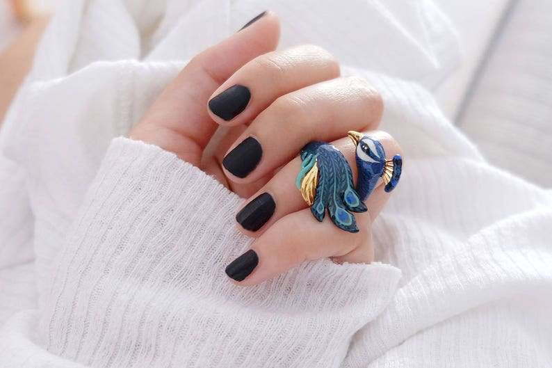 409119a521ec1 Peacock Ring , Animal Ring , Enamel ring , Original Designs.