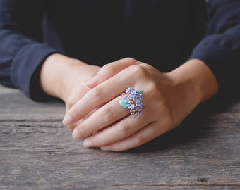 Lilac Ring , Flower Ring , Handpainted GOODAFTERNINE