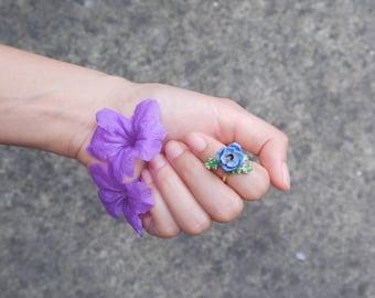 Anemone Violet  Ring , Flower Ring , Handpainted GOODAFTERNINE