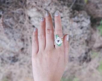 Anemone Ring , Flower Ring , Enamel Ring , Handpainted GOODAFTERNINE