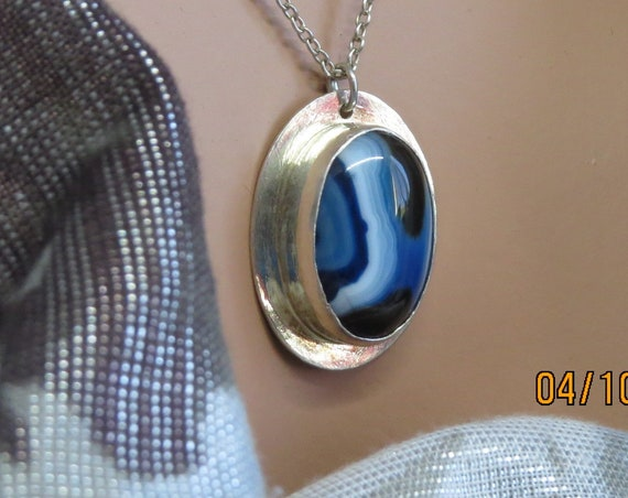 Blue and White Onyx Pendant Necklace