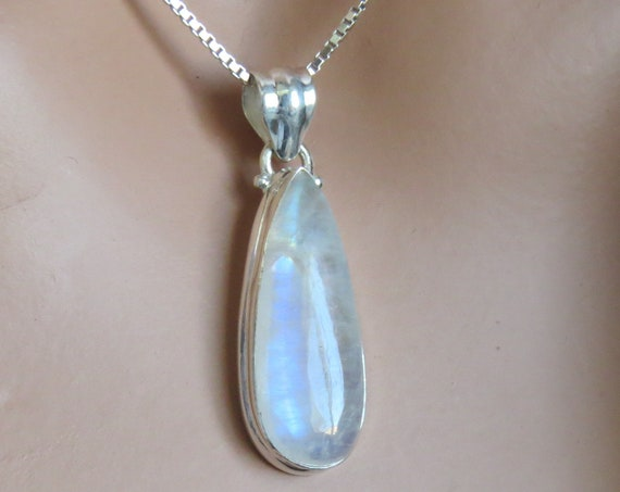 Rainbow Moonstone and Sterling Pendant