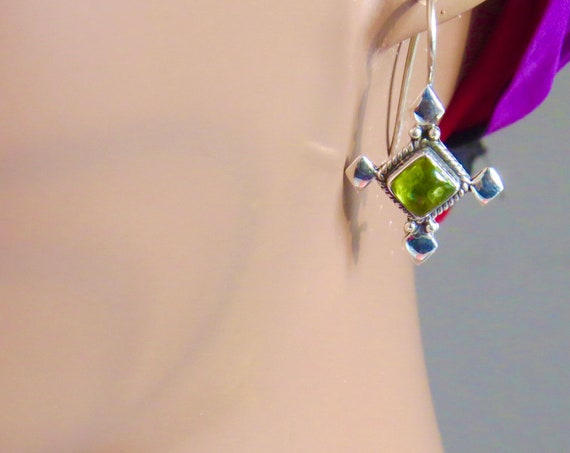 Green Crystal and Sterling Silver earrings