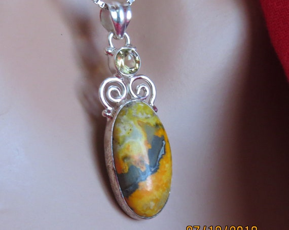Bumble Bee Jasper and Sterling Pendant