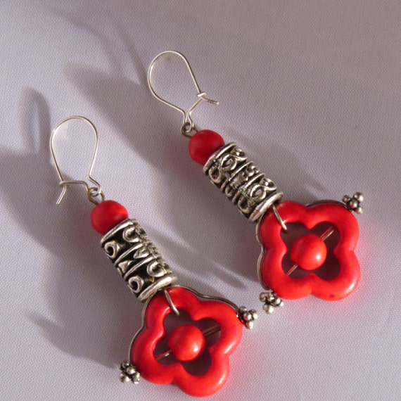 Red earrings, howlite, Bali beads and sterling silver earwires