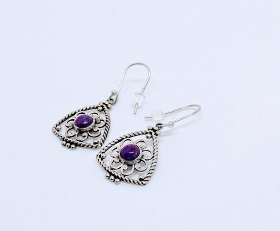 Sterling Silver and Purple Jasper Earrings