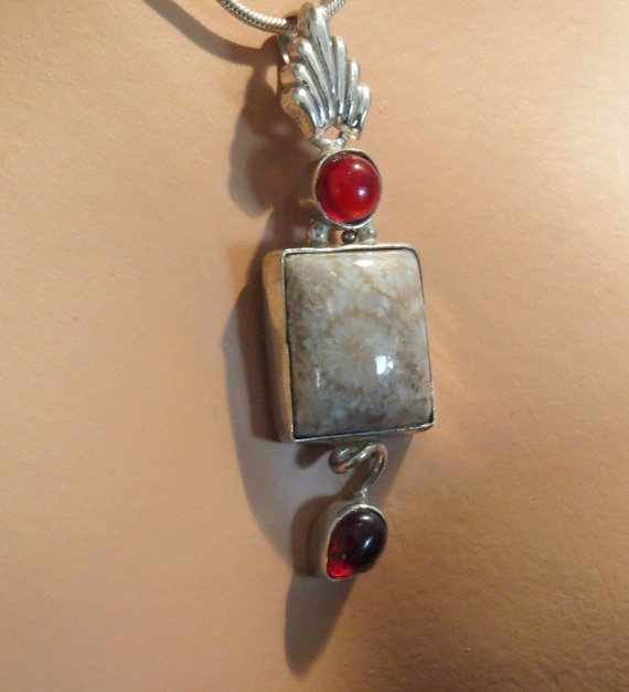 Coral Fossil Jasper and red garnet Necklace