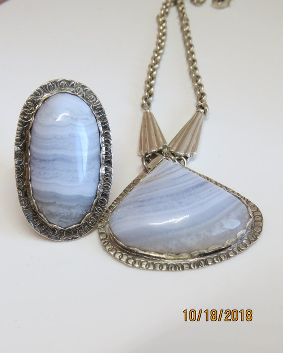 Blue Lace Agate Necklace and ring