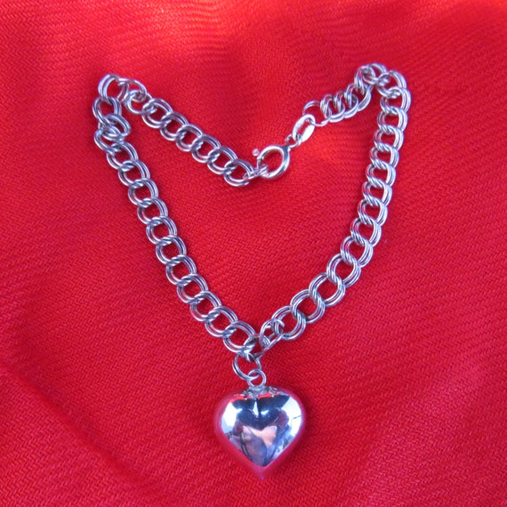 Valentine's Day-Handcrafted Sterling vintaged silver heart shaped bracelet