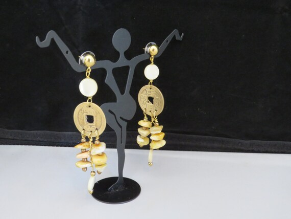 Earrings Shell and Ancient Chinese Brass coins