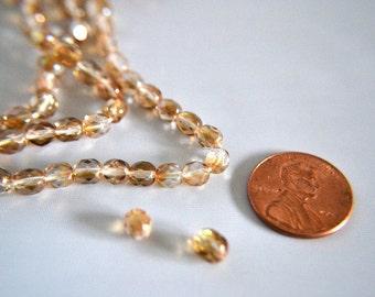 Aurora Borealis Amber Czech Glass Beads