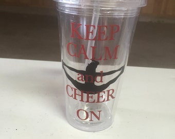 Keep Calm and Cheer On Tumbler