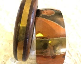 VINTAGE - BANGLES - SET of 2 - Copper/Wood/Brass