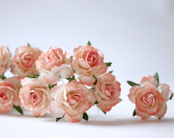 Paper flower English  peony Ranunculus roses 25 pcs. size 3.5 cm. Yellow color.