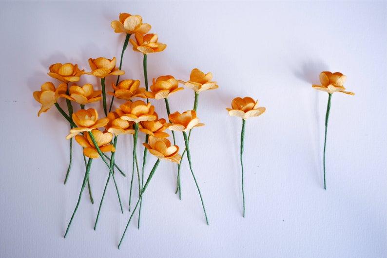 . 50 pieces brown golden color size 2.5 cm dry blond color Cherry blossom Paper flower
