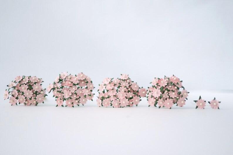 Paper Flower 100 Pcs Flat Small Daisy Flowers Size 0 5 Cm Pink Pastel Color