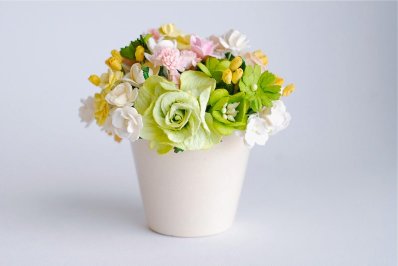 Paper Flowers Flowers Gift Ceramic White Pot Decoration On The Table Centerpiece Greenery Yellow Add Some Pink Colors