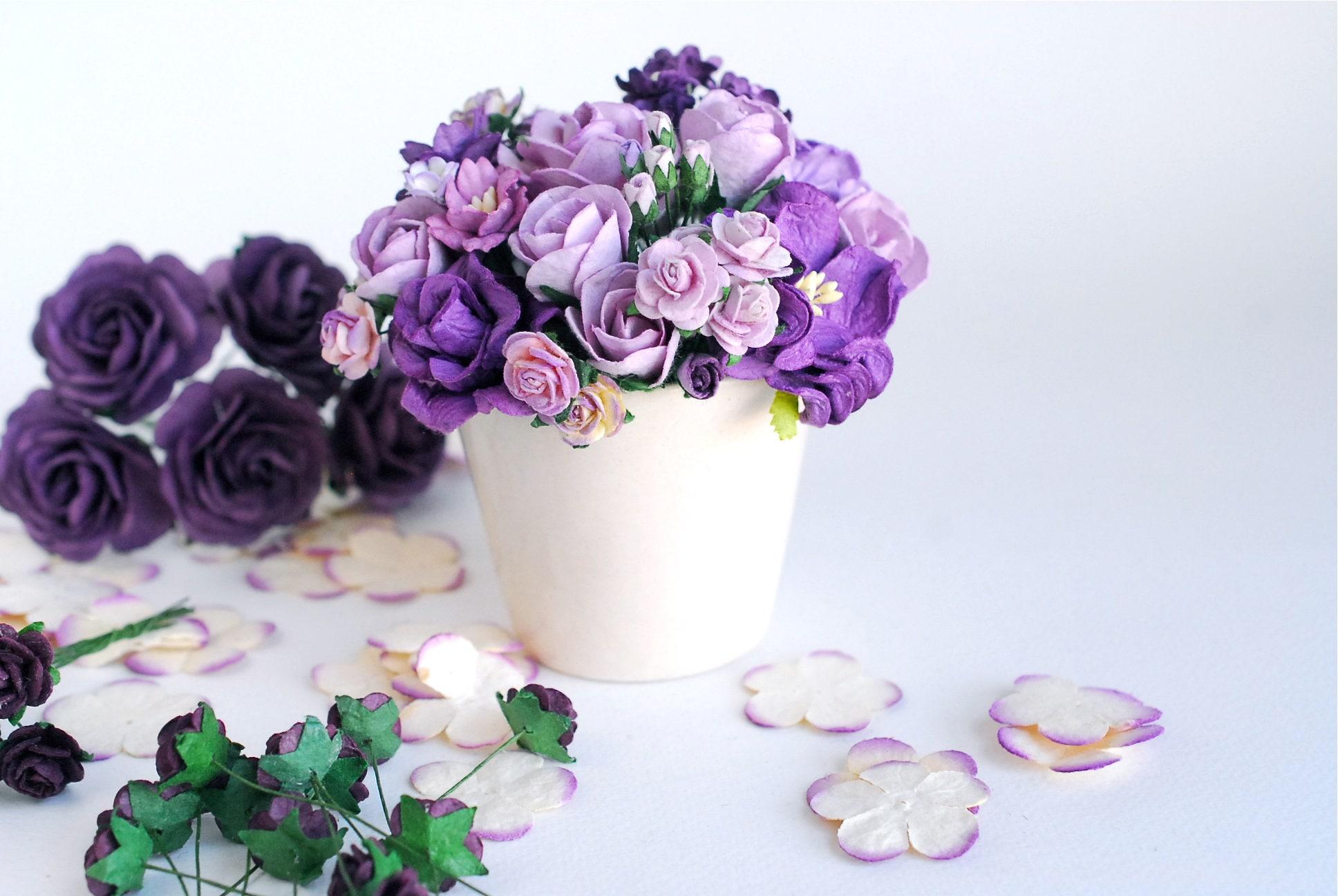 Paper Flower Pot Decoration Centerpiece Purple Roses Budding Roses And Gardenia White Ceramic Pot Purple Tone Color