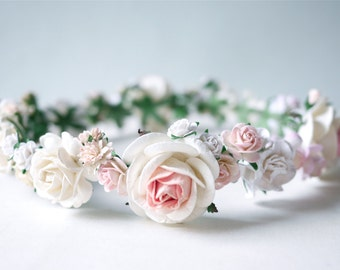 Paper Flower, Crown, Headband, Tiaras, Wedding, pink, soft pink, cream and white Color.