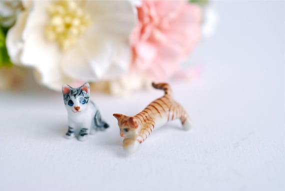Miniature Ceramics Supplies, Micro Mini Cats,  Miniatures, Accessories For Mini Garden, Accessories, Deacoration Paper Flowers, Terrarium by Etsy