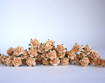 ONSALE**Paper Flower,100 pieces mulberry mini roses 0.8 cm., egg ivory color.