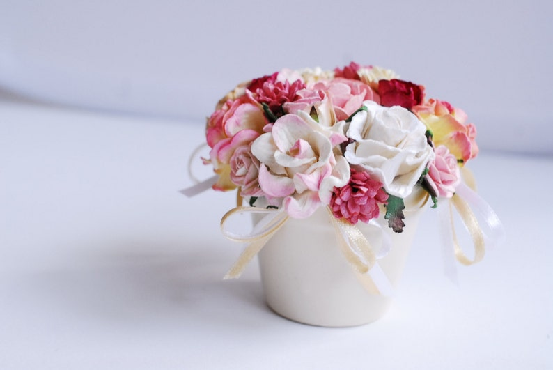 Paper Flower Pot Size About 8x9 Cm Made From Paper Ceramic Pot Pink And Purple Color Free Shipping With Bubble Protection