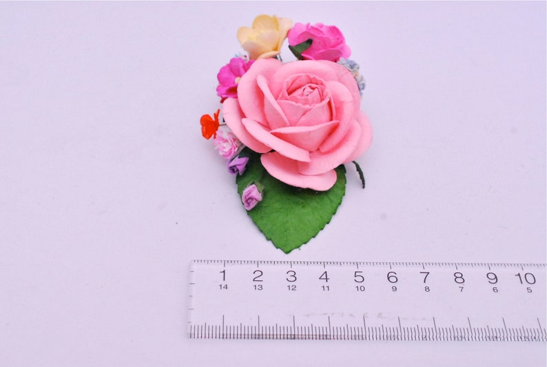 2tone white pink and pink roses pale pink centerpiece Paper Flower Bouquets budding roses and green leaf. 10 pcs. creeping lady