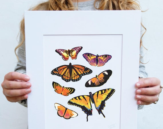 Yellow Butterfly, Digital Watercolor, Print, Illustration