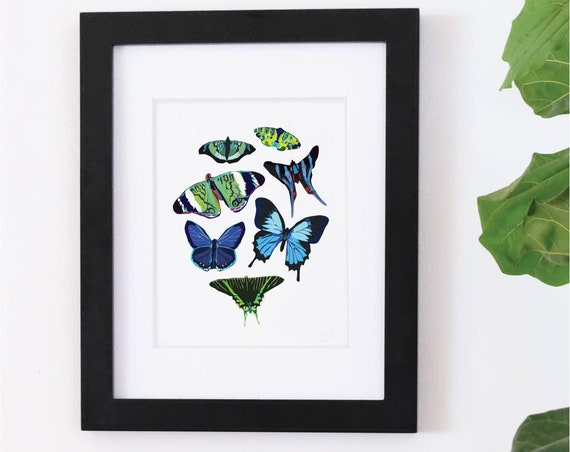 Blue Butterfly, Digital Watercolor Print, Illustration
