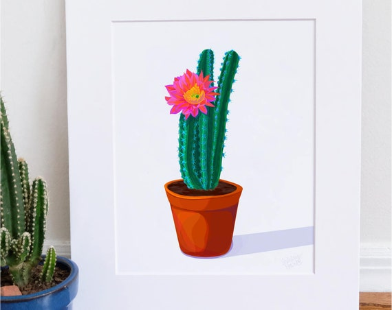 Green Cactus, Digital Watercolor Illustration, Print