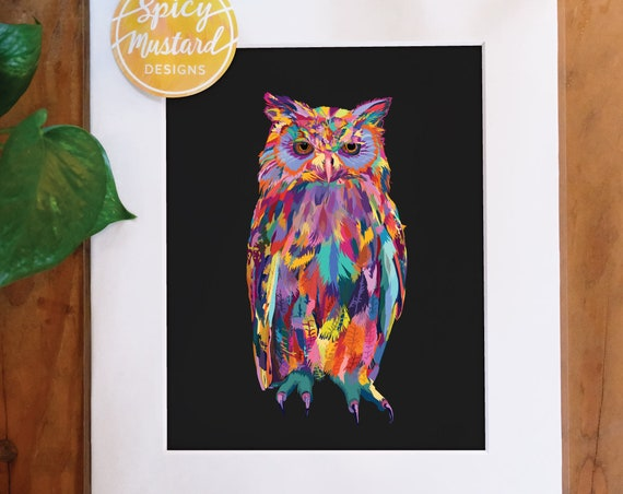 Multicolored Owl Bird, Digital Watercolor Print, Illustration