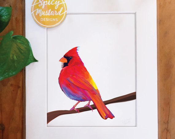 Multicolored Cardinal, Digital Watercolor Illustration