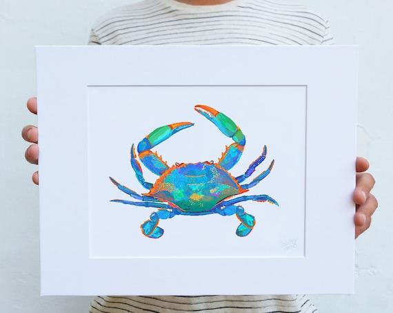 Blue Crab, Digital Watercolor Print, Illustration