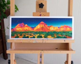 Mountain Print, Digital Watercolor Illustration, Red Rock Canyon, Vegas