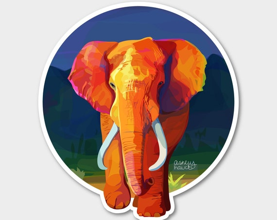 Illustrated Elephant Sticker