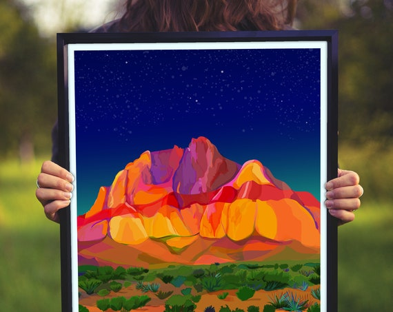 Large Multicolored Illustration, Red Rock Canyon Print