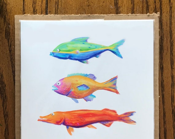 Multicolored Fish Print, Digital Illustration