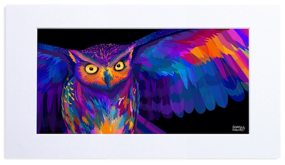 Multicolored Owl in Flight, Digital Illustration