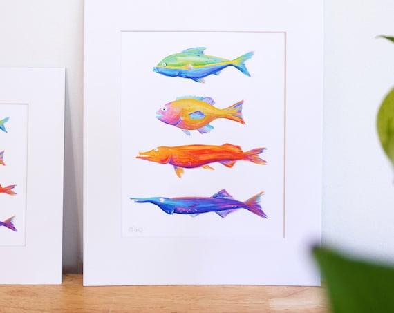 Multicolored Fish Print, Digital Illustration