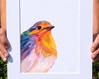 Multicolored Robin, Digital Watercolor Illustration