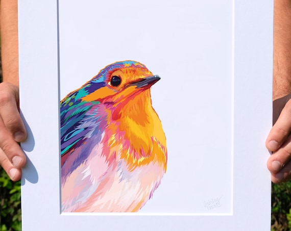 Multicolored Robin, Digital Watercolor Illustration