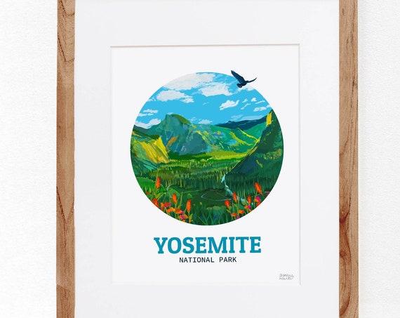 Yosemite National Park, Digital Illustration, Colorful Print