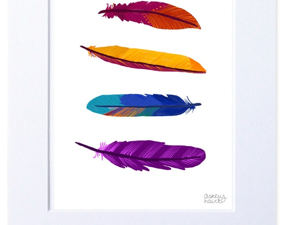 Multicolored Illustration, Digital Feather Print
