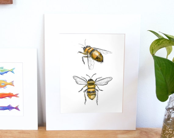 Multicolored Illustration, Digital Bumble Bee Print
