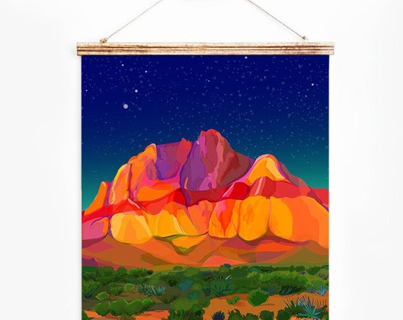 Large Red Rock Canyon, Digital Illustration, Colorful Print