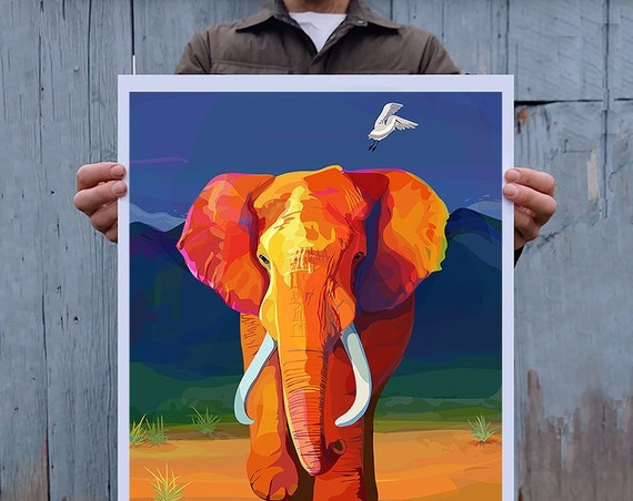Large Multicolored Illustration, Digital Painted Elephant Print