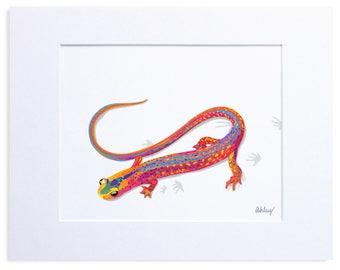 Multicolored Salamander, Digital Watercolor Illustration, Print